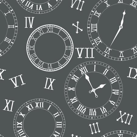 Tijd naadloos patroon met klokken in roman cijfers Vectorillustratie.