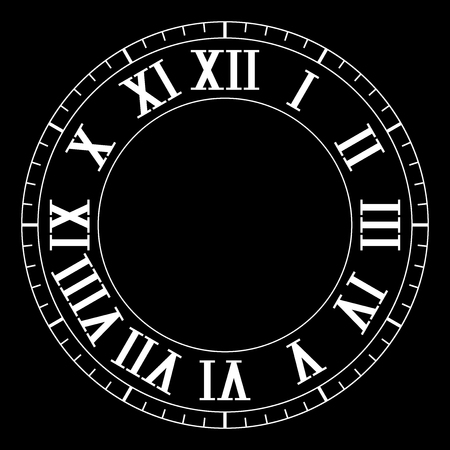 Clock face with roman numerals on black background Stock Illustratie