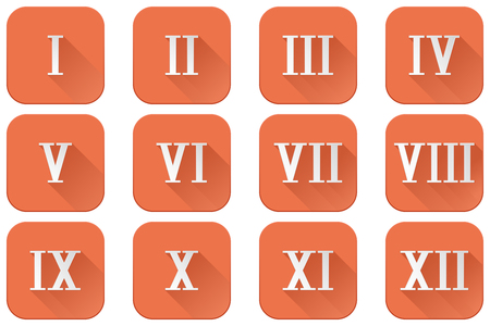 Roman numerals. Orange square icons. Vector illustration, isolated on white background.
