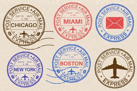 Postmarks. Collection of ink stamps on beige illustration.