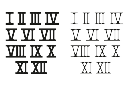 Roman numerals Vector illustration isolated on white background