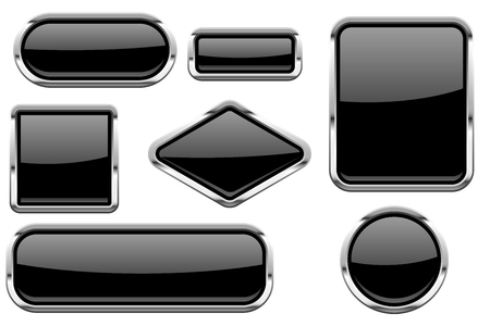 Black glass buttons with chrome frame. Colored set of shiny 3d web icons