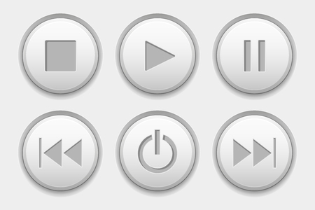 Media buttons. White audio icons set Illustration