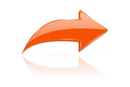 Orange 3d shiny arrow. Next web sign