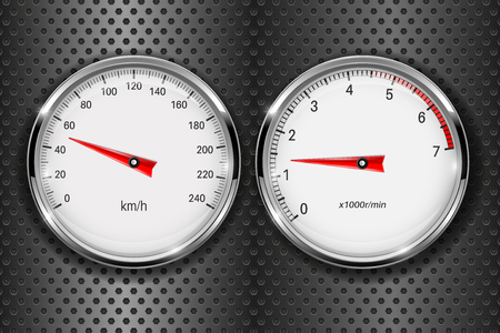 Speedometer and tachometer. On metal perforated background
