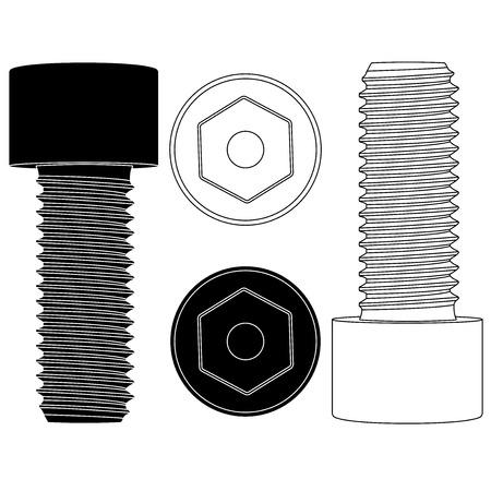 Cap hex socket bolt. Black and white outline icons
