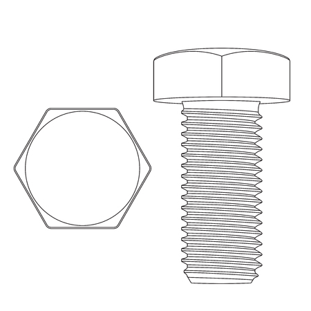 Metal hex bolt. White outline icon