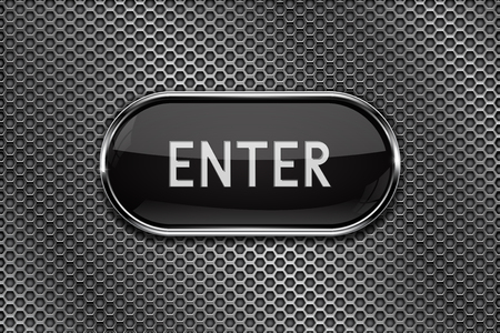 ENTER black button with chrome frame on metal perforated background