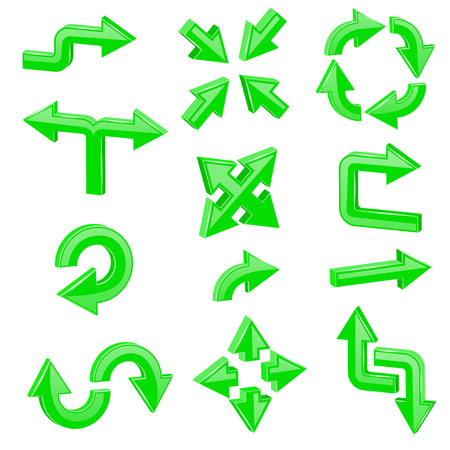 Green 3d arrows. Set of different shiny web signs