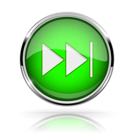Green round media button. FAST FORWARD button. Shiny icon with chrome frame and with reflection
