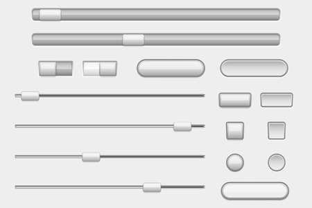 Interface buttons. Web navigation buttons and slider bars Vectores