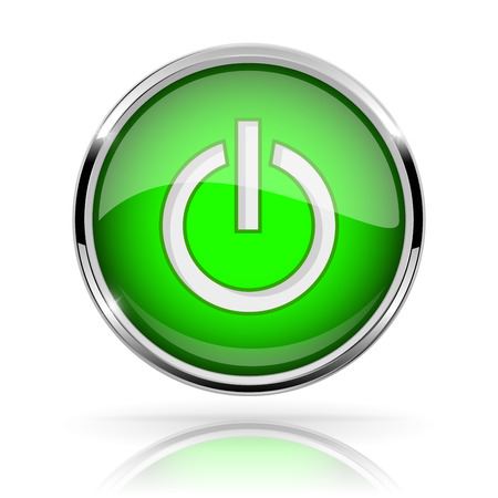 Green round media button. POWER button. Shiny icon with chrome frame and with reflection Illustration