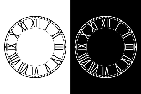 Retro clock face with roman numerals 向量圖像