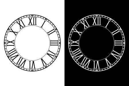 Retro clock face with roman numerals Stock Illustratie