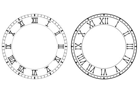 Zifferblatt mit römischen Ziffern Vektorgrafik