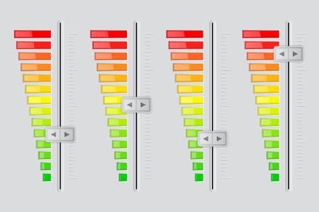 Vertical volume sliders. From minimum to maximum level