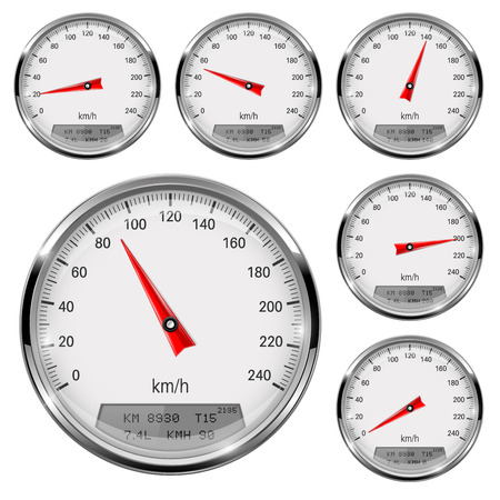 Speedometers. Round speed gage with metal frame