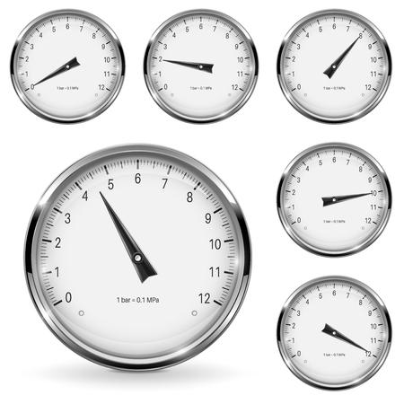 Manometer round gauges with metal frame Illustration
