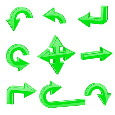 Green 3d arrows. Different directions Ilustração