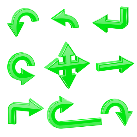 Green 3d arrows. Different directions Illustration