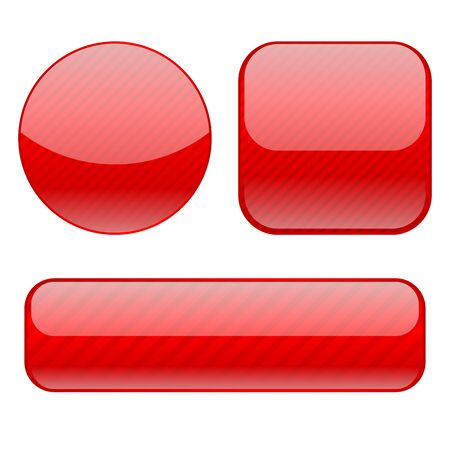 Red shiny buttons of different shapes  イラスト・ベクター素材