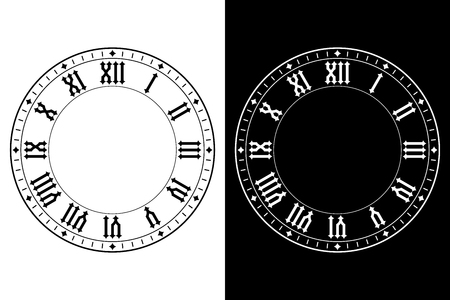 Black and white clocks with roman numerals