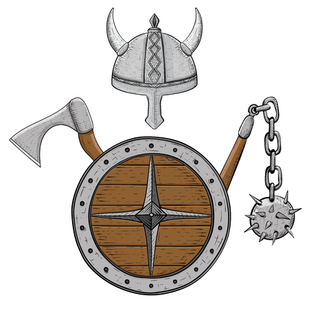 Illustration of viking armor set with helmet, shield, flail and axe. Ilustração