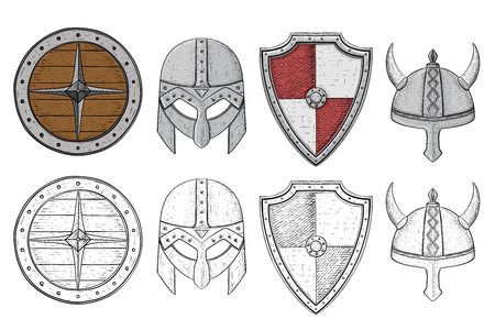 Shields and helmets. Viking equipment. Hand drawn sketch