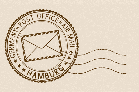 Round brown stamp on beige background for Hamburg
