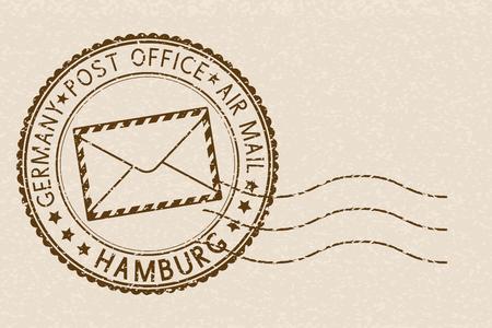 Round brown stamp on beige background for Hamburg