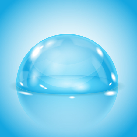 Blue glass dome. Shiny transparent semi sphere on blue background. Vector 3d illustration 일러스트