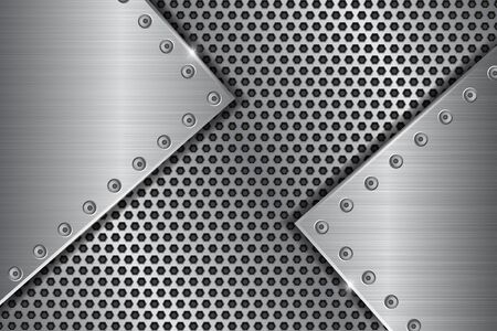 Silver metal perforated background with brushed iron plates with rivets