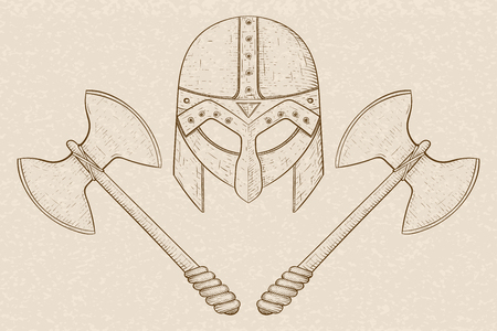 Viking helmet with axes. Hand drawn sketch on beige background