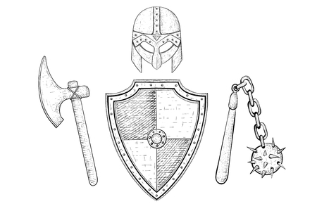 Armor set with a helmet, shield, flail and axe. Ilustração