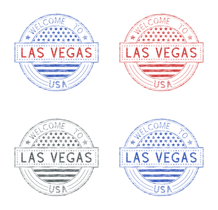 Welcome to Las Vegas, USA. Set of tourist stamps