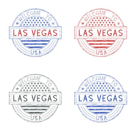 Welcome to Las Vegas, USA. Set of tourist stamps