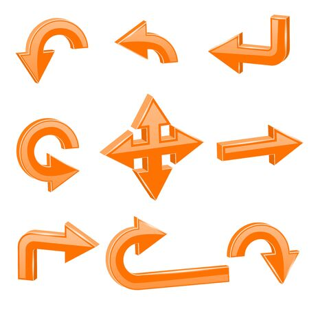 Orange 3d arrows. Different directions