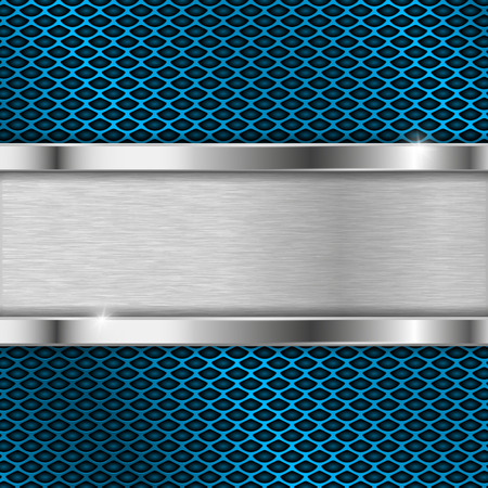 Metal blue perforated backround with iron horizontal plate