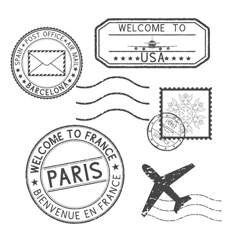 Set of black stamps. Postmarks and travel stamps- Welcome to France, Welcome to USA Stock Illustratie