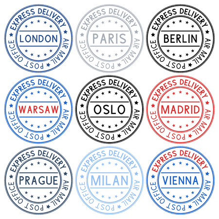 Postmarks collection of ink stamps with european cities