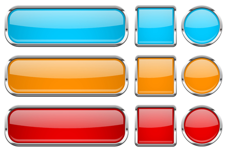 Glass buttons with chrome frame. Set of colored shiny 3d web icons. Red, orange and blue