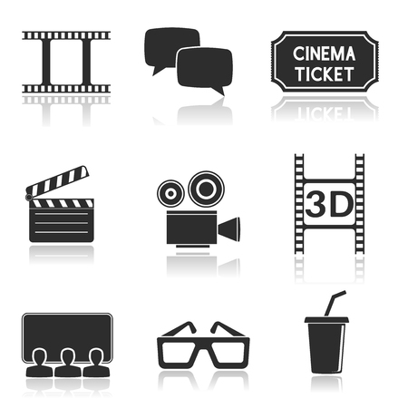 Cinema icons set. Black square signs with movie theater symbols Vettoriali