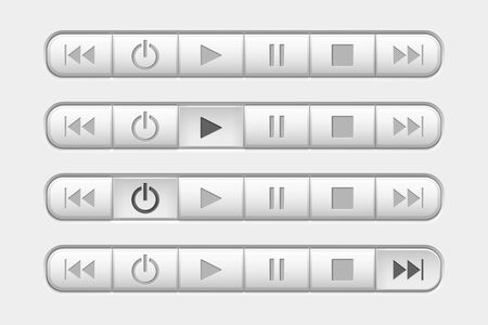 Media buttons control panel. With pressed buttons