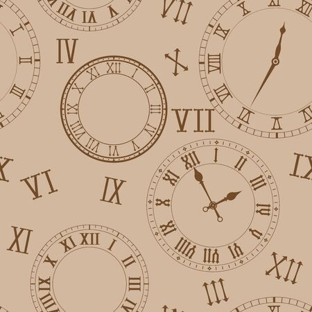 Time background. Clocks on beige background
