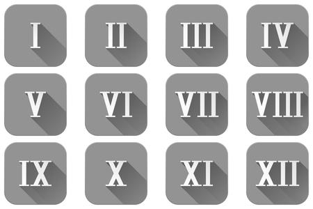 Roman numerals. Grey square icons Illustration