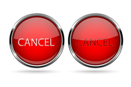 Cancel buttons round red 3d icons with chrome frame. Illustration