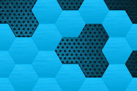 Metal dark background with blue steel hexagons Vector illustration. Çizim