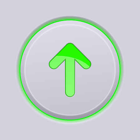 Green UP arrow on gray plastic round button Vector illustration.