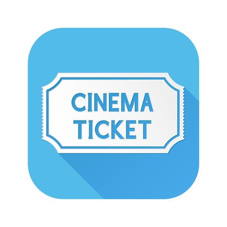 Cinema ticket. White sign on blue square icon