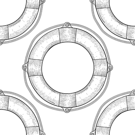 Lifebuoy. Seamless pattern. Hand drawn sketch